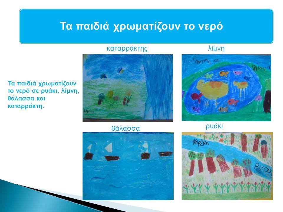 Τα παιδιά χρωματίζουν το νερό Τα παιδιά χρωματίζουν το νερό σε ρυάκι, λίμνη, θάλασσα και καταρράκτη. καταρράκτης θάλασσα ρυάκι λίμνη