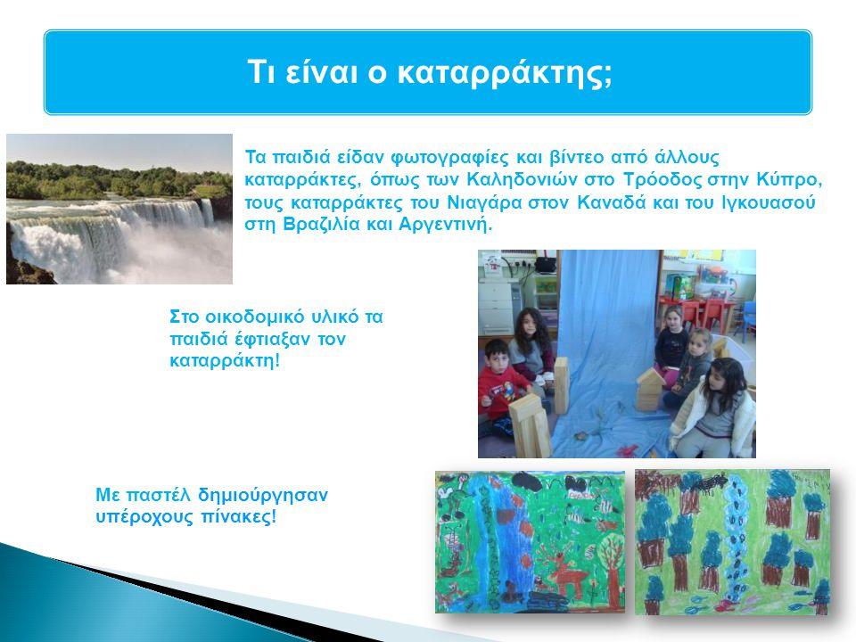 Τα παιδιά είδαν φωτογραφίες και βίντεο από άλλους καταρράκτες, όπως των Καληδονιών στο Τρόοδος στην Κύπρο, τους καταρράκτες του Νιαγάρα στον Καναδά κα