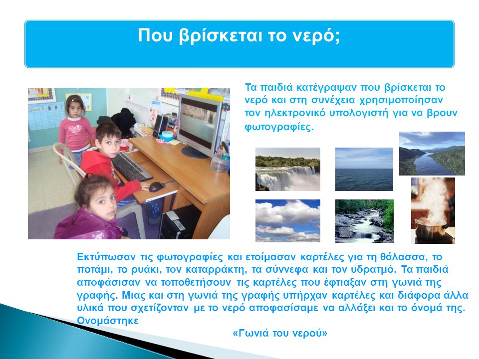 Που βρίσκεται το νερό; Τα παιδιά κατέγραψαν που βρίσκεται το νερό και στη συνέχεια χρησιμοποίησαν τον ηλεκτρονικό υπολογιστή για να βρουν φωτογραφίες.