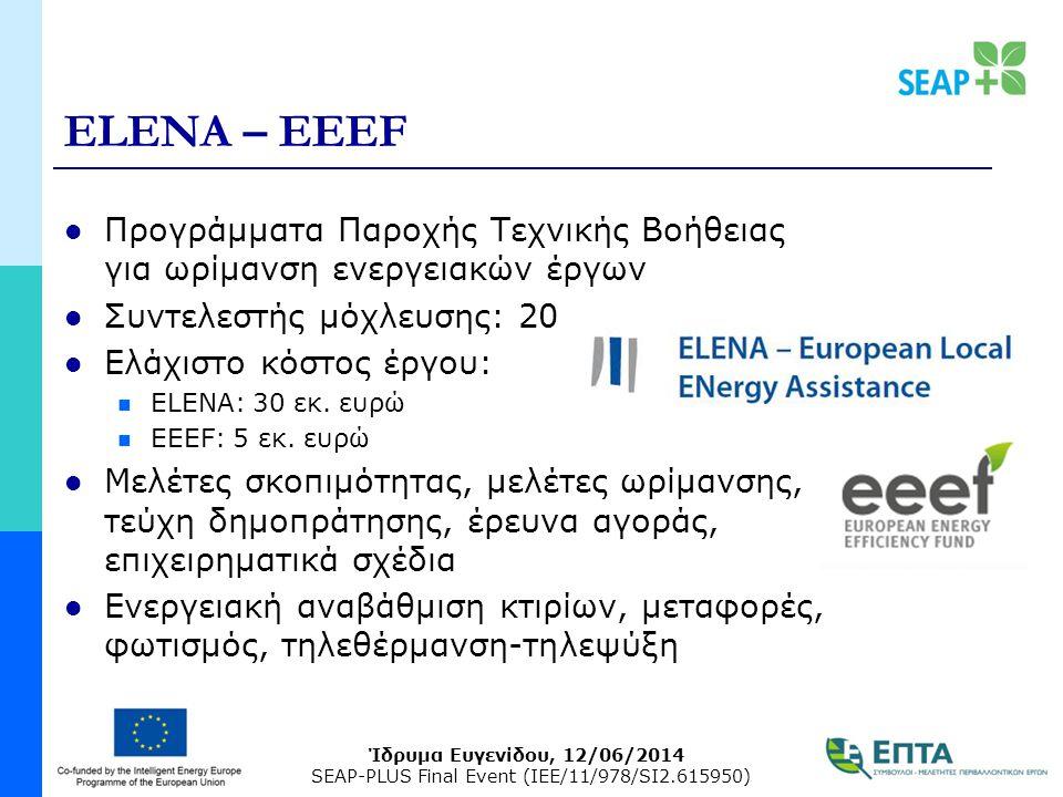 Ίδρυμα Ευγενίδου, 12/06/2014 SEAP-PLUS Final Event (IEE/11/978/SI2.615950) ELENA – EEEF Προγράμματα Παροχής Τεχνικής Βοήθειας για ωρίμανση ενεργειακών έργων Συντελεστής μόχλευσης: 20 Ελάχιστο κόστος έργου: ELENA: 30 εκ.