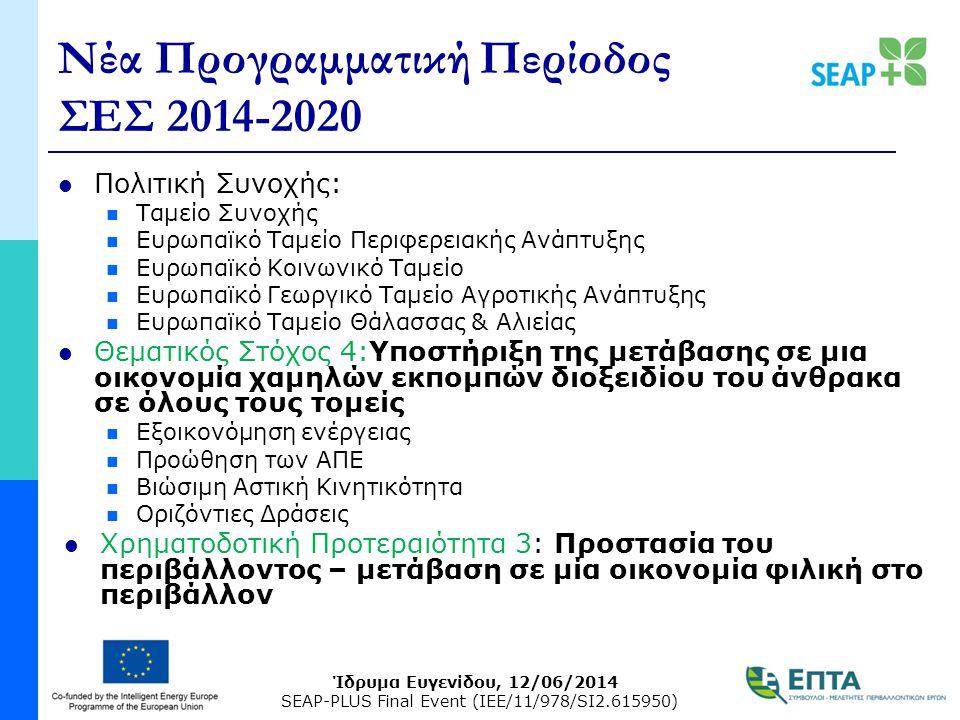 Ίδρυμα Ευγενίδου, 12/06/2014 SEAP-PLUS Final Event (IEE/11/978/SI2.615950) Νέα Προγραμματική Περίοδος ΣΕΣ 2014-2020 Πολιτική Συνοχής: Ταμείο Συνοχής Ευρωπαϊκό Ταμείο Περιφερειακής Ανάπτυξης Ευρωπαϊκό Κοινωνικό Ταμείο Ευρωπαϊκό Γεωργικό Ταμείο Αγροτικής Ανάπτυξης Ευρωπαϊκό Ταμείο Θάλασσας & Αλιείας Θεματικός Στόχος 4:Υποστήριξη της μετάβασης σε μια οικονομία χαμηλών εκπομπών διοξειδίου του άνθρακα σε όλους τους τομείς Εξοικονόμηση ενέργειας Προώθηση των ΑΠΕ Βιώσιμη Αστική Κινητικότητα Οριζόντιες Δράσεις Χρηματοδοτική Προτεραιότητα 3: Προστασία του περιβάλλοντος – μετάβαση σε μία οικονομία φιλική στο περιβάλλον