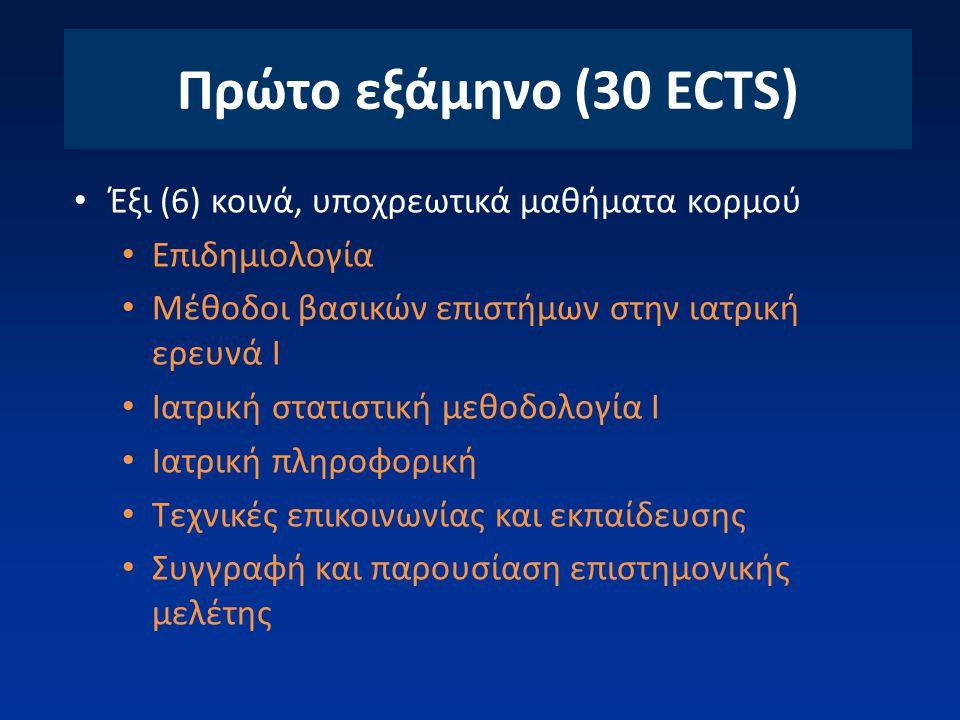 Πρώτο εξάμηνο (30 ECTS) Έξι (6) κοινά, υποχρεωτικά μαθήματα κορμού Επιδημιολογία Μέθοδοι βασικών επιστήμων στην ιατρική ερευνά Ι Ιατρική στατιστική με
