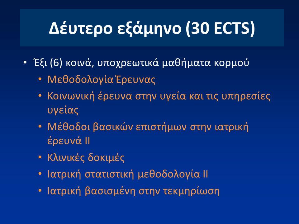 Δέυτερο εξάμηνο (30 ECTS) Έξι (6) κοινά, υποχρεωτικά μαθήματα κορμού Μεθοδολογία Έρευνας Κοινωνική έρευνα στην υγεία και τις υπηρεσίες υγείας Μέθοδοι