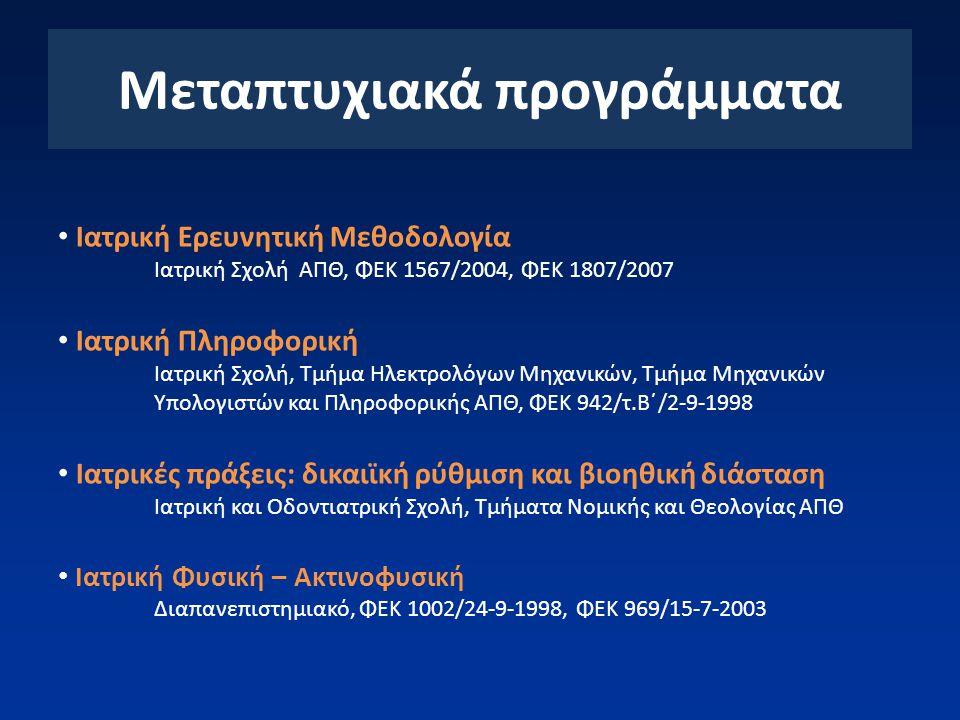Μεταπτυχιακά προγράμματα Ιατρική Ερευνητική Μεθοδολογία Ιατρική Σχολή ΑΠΘ, ΦΕΚ 1567/2004, ΦΕΚ 1807/2007 Ιατρική Πληροφορική Ιατρική Σχολή, Τμήμα Ηλεκτρολόγων Μηχανικών, Τμήμα Μηχανικών Υπολογιστών και Πληροφορικής ΑΠΘ, ΦΕΚ 942/τ.Β΄/2-9-1998 Ιατρικές πράξεις: δικαιϊκή ρύθμιση και βιοηθική διάσταση Ιατρική και Οδοντιατρική Σχολή, Τμήματα Νομικής και Θεολογίας ΑΠΘ Ιατρική Φυσική – Ακτινοφυσική Διαπανεπιστημιακό, ΦΕΚ 1002/24-9-1998, ΦΕΚ 969/15-7-2003
