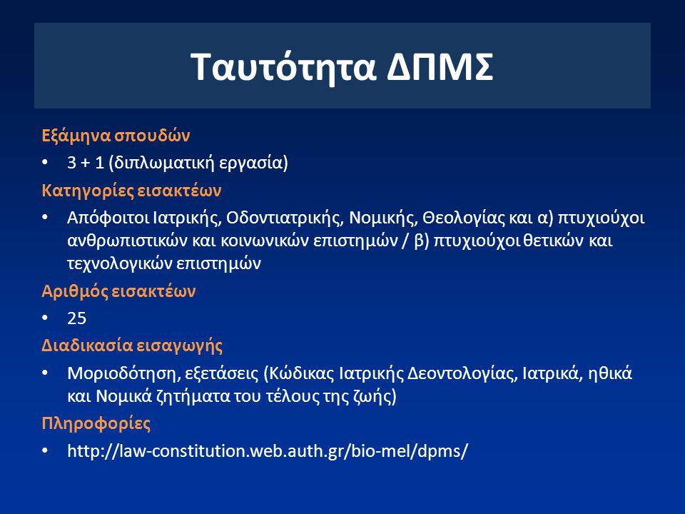 Εξάμηνα σπουδών 3 + 1 (διπλωματική εργασία) Κατηγορίες εισακτέων Απόφοιτοι Ιατρικής, Οδοντιατρικής, Νομικής, Θεολογίας και α) πτυχιούχοι ανθρωπιστικών