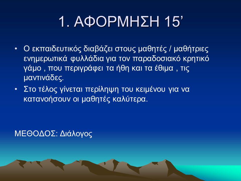 ΠΟΡΕΙΑ ΔΙΔΑΣΚΑΛΙΑΣ 90 ΛΕΠΤΑ Η ΠΟΡΕΙΑ ΔΙΔΑΣΚΑΛΙΑΣ ΑΠΟΤΕΛΕΙΤΑΙ ΑΠΟ: Η ΠΟΡΕΙΑ ΔΙΔΑΣΚΑΛΙΑΣ ΑΠΟΤΕΛΕΙΤΑΙ ΑΠΟ: 1) Την αφόρμηση 15' 2) Την προσφορά 10' 3) Την