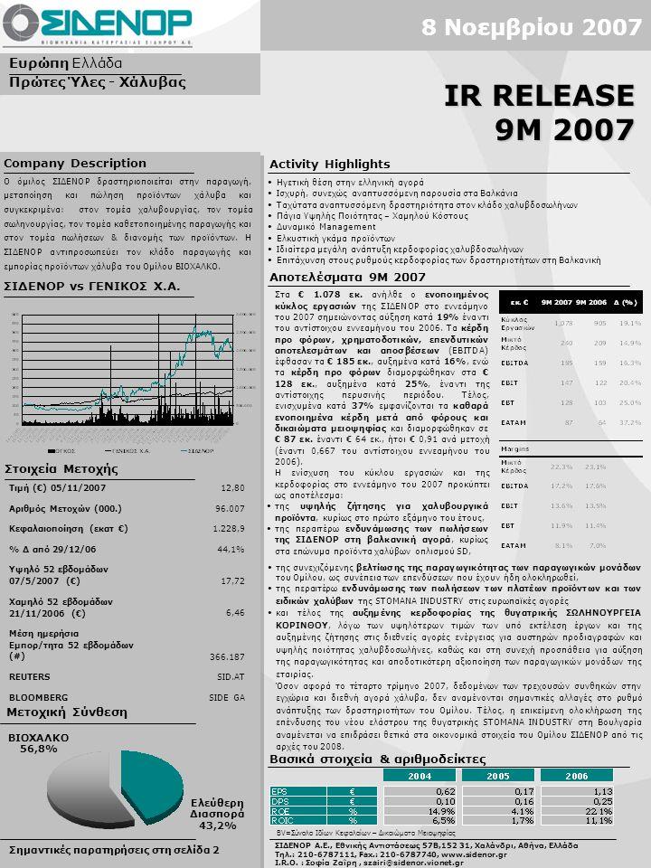 Ηγετική θέση στην ελληνική αγορά Ισχυρή, συνεχώς αναπτυσσόμενη παρουσία στα Βαλκάνια Ταχύτατα αναπτυσσόμενη δραστηριότητα στον κλάδο χαλυβδοσωλήνων Πάγια Υψηλής Ποιότητας – Χαμηλού Κόστους Δυναμικό Management Ελκυστική γκάμα προϊόντων Ιδιαίτερα μεγάλη ανάπτυξη κερδοφορίας χαλυβδοσωλήνων Επιτάχυνση στους ρυθμούς κερδοφορίας των δραστηριοτήτων στη Βαλκανική Σημαντικές παρατηρήσεις στη σελίδα 2 Ευρώπη Ελλάδα Πρώτες Ύλες - Χάλυβας ΣΙΔΕΝΟΡ vs ΓΕΝΙΚΟΣ Χ.Α.