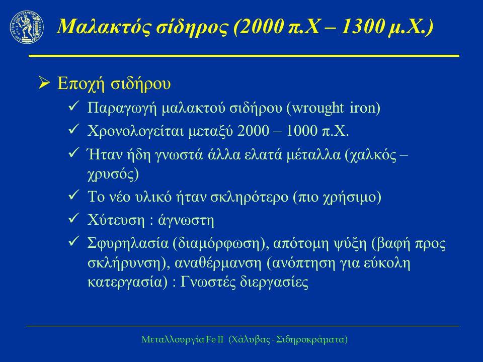 Μεταλλουργία Fe IΙ (Χάλυβας - Σιδηροκράματα) Μαλακτός σίδηρος (2000 π.Χ – 1300 μ.Χ.)  Εποχή σιδήρου Παραγωγή μαλακτού σιδήρου (wrought iron) Χρονολογείται μεταξύ 2000 – 1000 π.Χ.