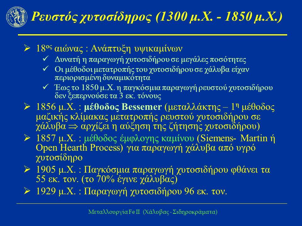 Μεταλλουργία Fe IΙ (Χάλυβας - Σιδηροκράματα) Ρευστός χυτοσίδηρος (1300 μ.Χ.
