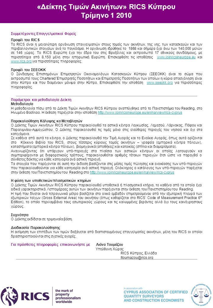 «Δείκτης Τιμών Ακινήτων» RICS Κύπρου Τρίμηνο 1 2010 Συμμετέχοντες Επαγγελματικοί Φορείς Προφίλ του RICS Το RICS είναι η μεγαλύτερη οργάνωση επαγγελματ