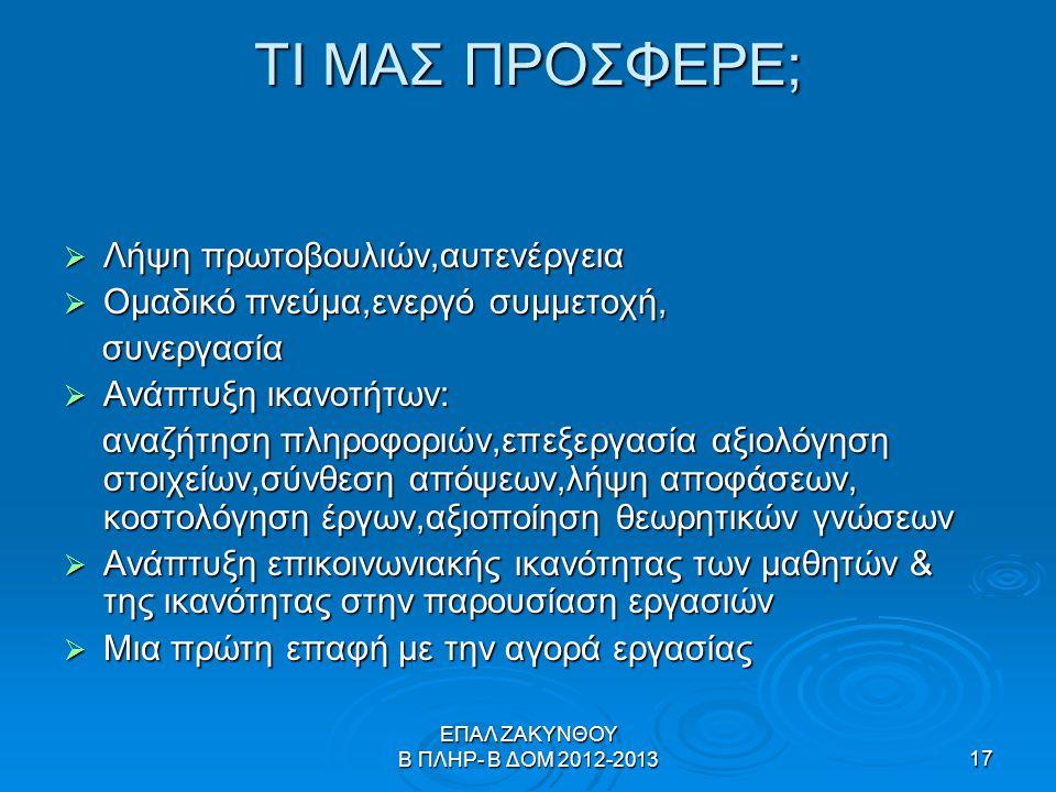 ΕΠΑΛ ΖΑΚΥΝΘΟΥ Β ΠΛΗΡ- Β ΔΟΜ 2012-201317 ΤΙ ΜΑΣ ΠΡΟΣΦΕΡΕ;  Λήψη πρωτοβουλιών,αυτενέργεια  Ομαδικό πνεύμα,ενεργό συμμετοχή, συνεργασία συνεργασία  Αν