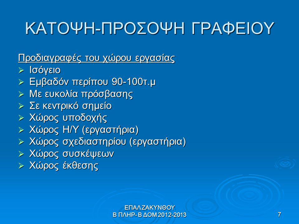 ΕΠΑΛ ΖΑΚΥΝΘΟΥ Β ΠΛΗΡ- Β ΔΟΜ 2012-20138 Κάτοψη-Πρόσοψη Γραφείου  Μια πρώτη συζήτηση στη τάξη.