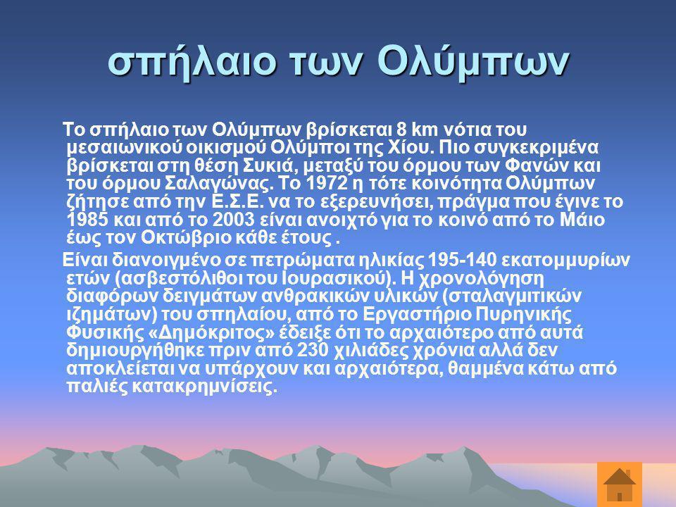 σπήλαιο των Ολύμπων Το σπήλαιο των Ολύμπων βρίσκεται 8 km νότια του μεσαιωνικού οικισμού Ολύμποι της Χίου. Πιο συγκεκριμένα βρίσκεται στη θέση Συκιά,
