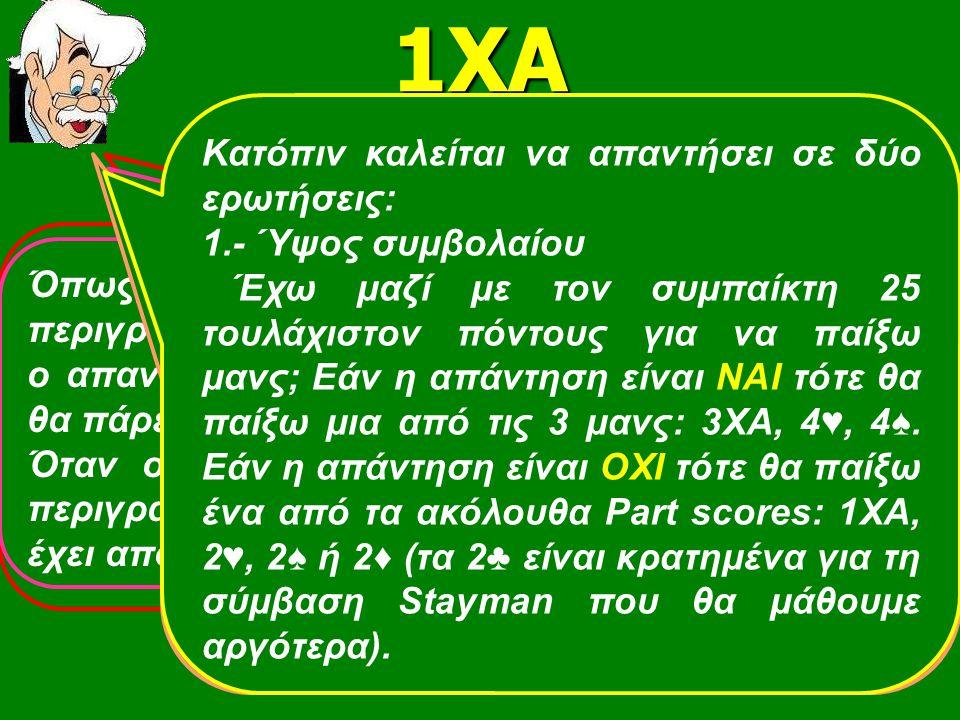 Απαντών Ανοίξας 1ΧΑ 2♥0-7π 5φυλλο+ ♦ 2♠ 2♦ ♠ Κ53 ♥ Α872  ΑQ8 ♣ Q62 =0-7π 5φυλλη+ ♥0-7π Ομαλή κατ.