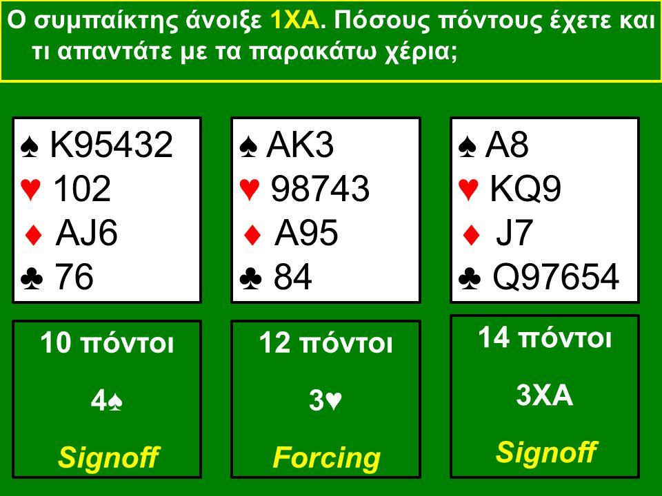 ♠ Κ95432 ♥ 102  ΑJ6 ♣ 76 4♠ Signoff ♠ AK3 ♥ 98743  A95 ♣ 84 3♥ Forcing ♠ A8 ♥ KQ9  J7 ♣ Q97654 3XA Signoff Ο συμπαίκτης άνοιξε 1ΧΑ.