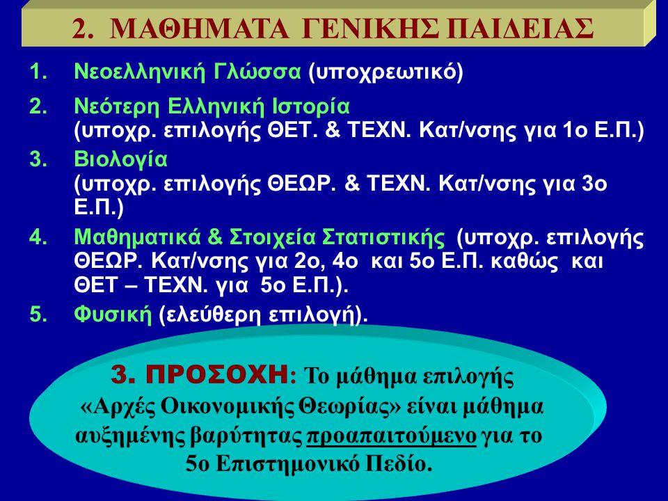 3. ΠΡΟΣΟΧΗ : Το μάθημα επιλογής «Αρχές Οικονομικής Θεωρίας» είναι μάθημα αυξημένης βαρύτητας προαπαιτούμενο για το 5ο Επιστημονικό Πεδίο. 2. ΜΑΘΗΜΑΤΑ