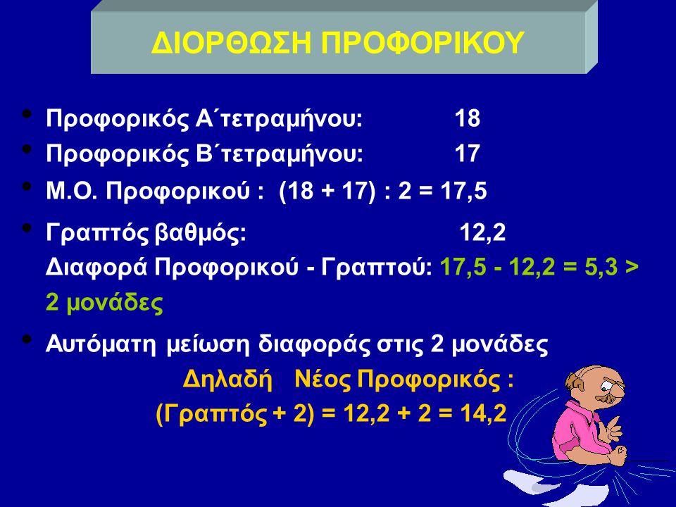 Προφορικός Α΄τετραμήνου: 18 Προφορικός Β΄τετραμήνου: 17 Μ.Ο.