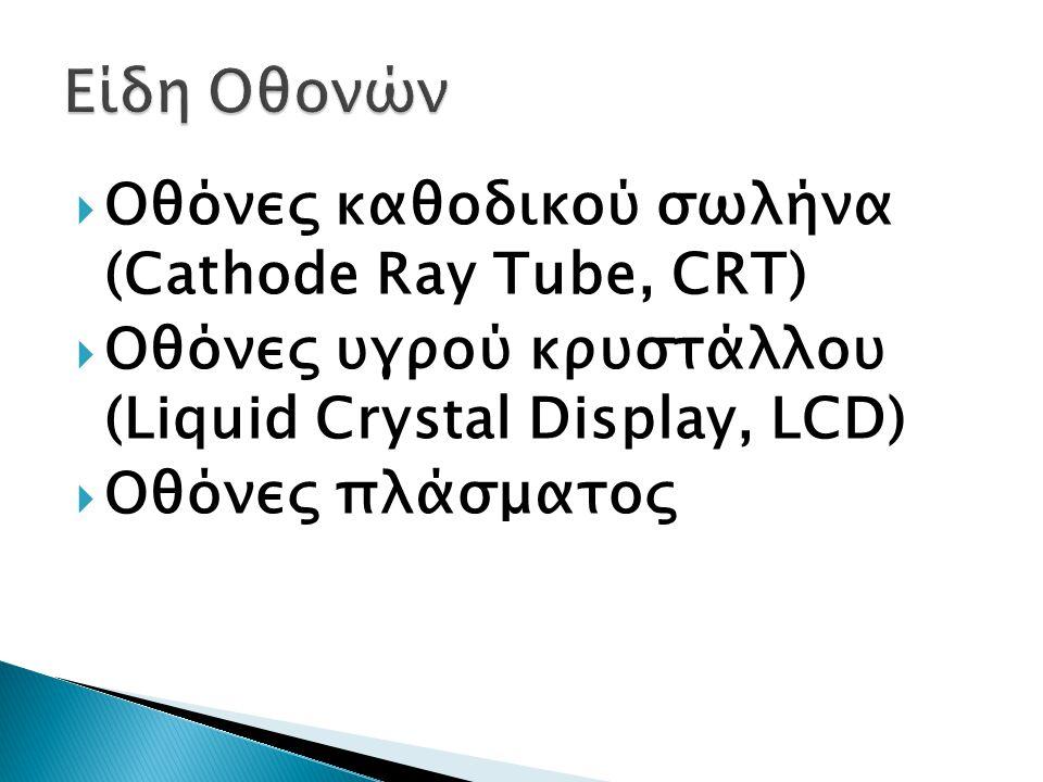  Οθόνες καθοδικού σωλήνα (Cathode Ray Tube, CRT)  Οθόνες υγρού κρυστάλλου (Liquid Crystal Display, LCD)  Οθόνες πλάσματος