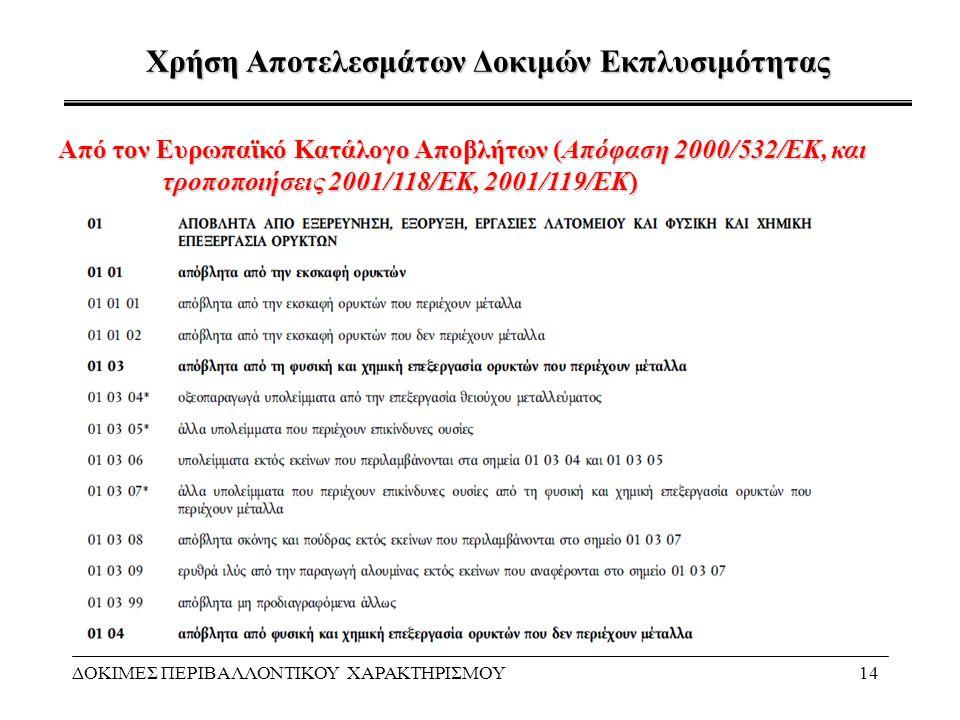Χρήση Αποτελεσμάτων Δοκιμών Εκπλυσιμότητας ΔΟΚΙΜΕΣ ΠΕΡΙΒΑΛΛΟΝΤΙΚΟΥ ΧΑΡΑΚΤΗΡΙΣΜΟΥ14 Από τον Ευρωπαϊκό Κατάλογο Αποβλήτων (Απόφαση 2000/532/ΕΚ, και τροπ