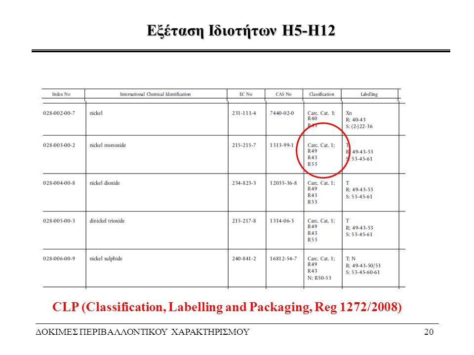 Εξέταση Ιδιοτήτων Η5-Η12 ΔΟΚΙΜΕΣ ΠΕΡΙΒΑΛΛΟΝΤΙΚΟΥ ΧΑΡΑΚΤΗΡΙΣΜΟΥ20 CLP (Classification, Labelling and Packaging, Reg 1272/2008)