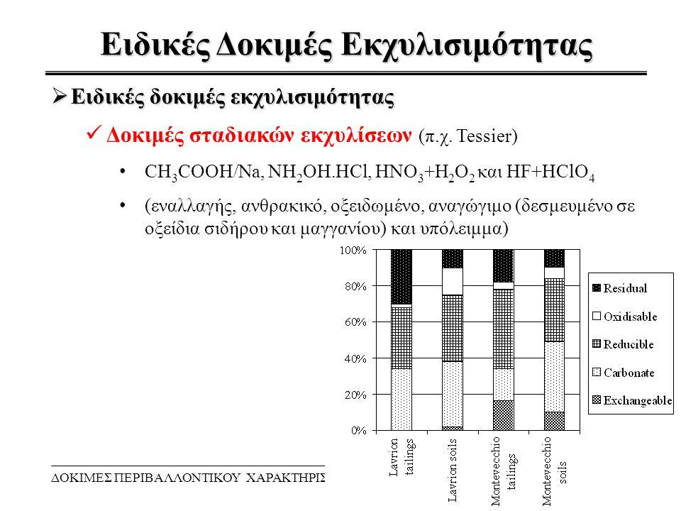 Ειδικές Δοκιμές Εκχυλισιμότητας ΔΟΚΙΜΕΣ ΠΕΡΙΒΑΛΛΟΝΤΙΚΟΥ ΧΑΡΑΚΤΗΡΙΣΜΟΥ9  Ειδικές δοκιμές εκχυλισιμότητας Δοκιμές σταδιακών εκχυλίσεων (π.χ. Tessier) C