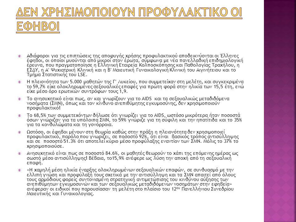  Αδιάφοροι για τις επιπτώσεις της αποφυγής χρήσης προφυλακτικού αποδεικνύονται οι Έλληνες έφηβοι, οι οποίοι μυούνται από μικροί στον έρωτα, σύμφωνα μ