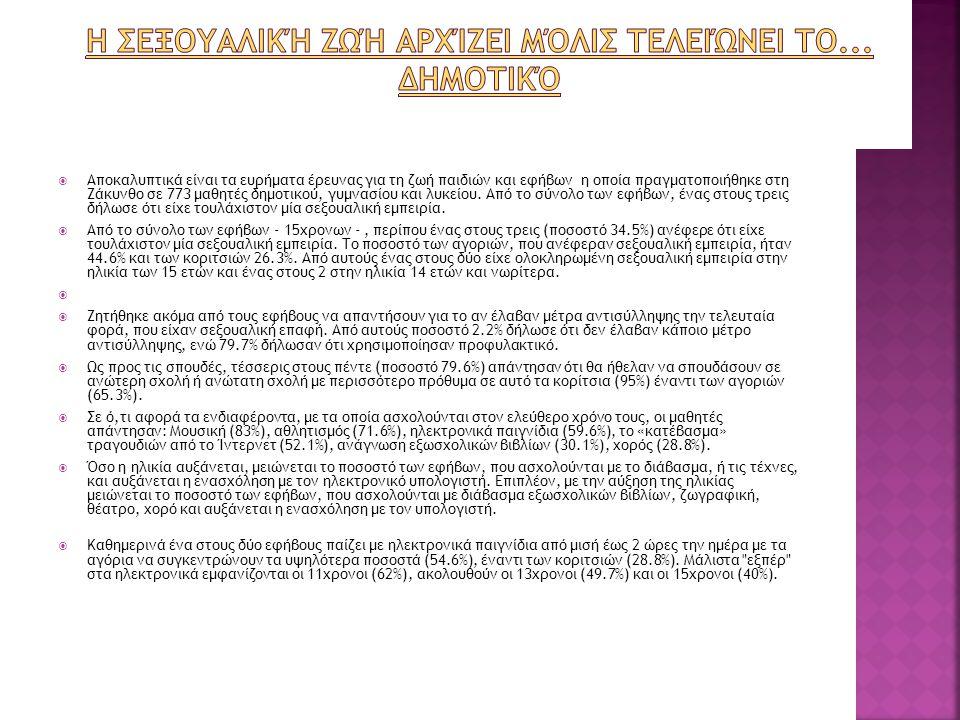  Αδιάφοροι για τις επιπτώσεις της αποφυγής χρήσης προφυλακτικού αποδεικνύονται οι Έλληνες έφηβοι, οι οποίοι μυούνται από μικροί στον έρωτα, σύμφωνα με νέα πανελλαδική επιδημιολογική έρευνα, που πραγματοποίησε η Ελληνική Εταιρεία Κολποσκόπησης και Παθολογίας Τραχήλου, η ΕΣΔΥ, η Α ' Ψυχιατρική Κλινική και η Β ' Μαιευτική Γυναικολογική Κλινική του Αιγινήτειου και το Τμήμα Στατιστικής του LSE.