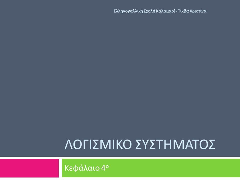 4.1 Λογισμικό Συστήματος Ελληνογαλλική Σχολή Καλαμαρί - Τίκβα Χριστίνα  Λογισμικό : Το σύνολο των προγραμμάτων που συντονίζουν τις λειτουργίες του υλικού και αξιοποιούν τις δυνατότητες του για χρήση του υπολογιστή ως εργαλείου.