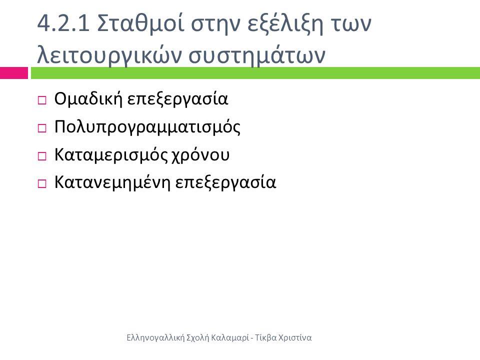 4.2.1 Σταθμοί στην εξέλιξη των λειτουργικών συστημάτων Ελληνογαλλική Σχολή Καλαμαρί - Τίκβα Χριστίνα  Ομαδική επεξεργασία  Πολυπρογραμματισμός  Κατ