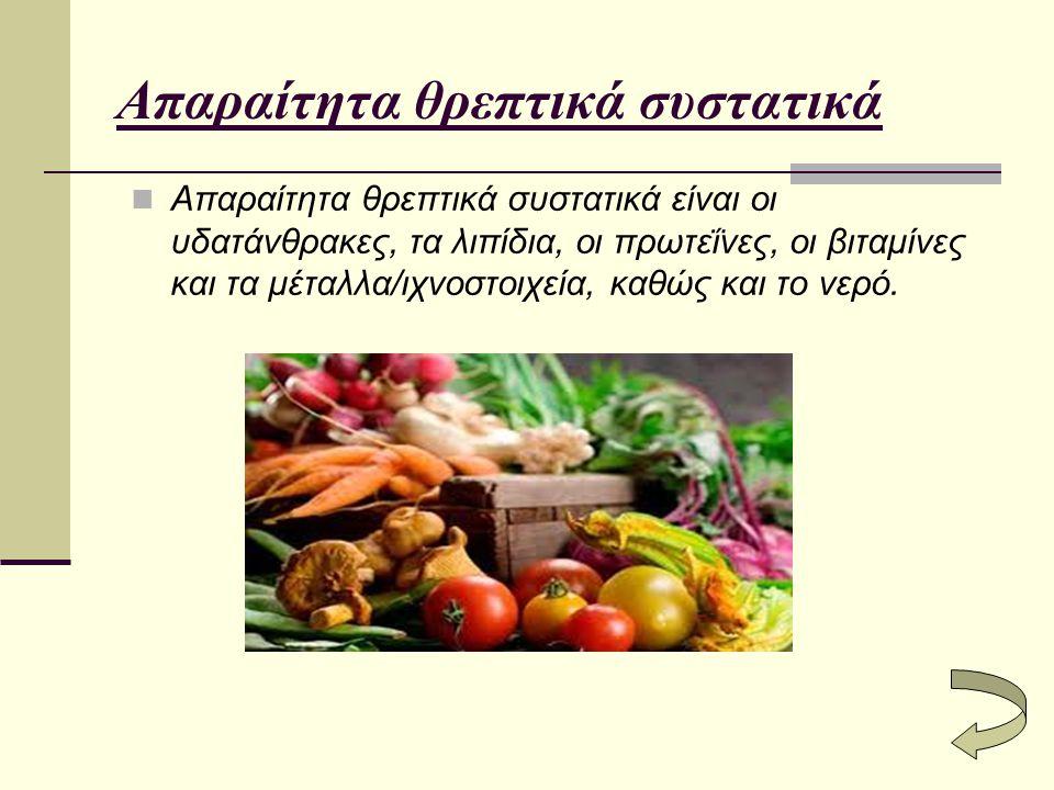 Απαραίτητα θρεπτικά συστατικά Απαραίτητα θρεπτικά συστατικά είναι οι υδατάνθρακες, τα λιπίδια, οι πρωτεΐνες, οι βιταμίνες και τα μέταλλα/ιχνοστοιχεία,