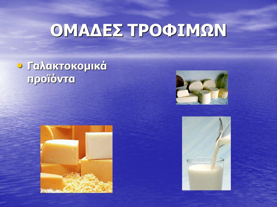ΟΜΑΔΕΣ ΤΡΟΦΙΜΩΝ Γαλακτοκομικά προϊόντα Γαλακτοκομικά προϊόντα