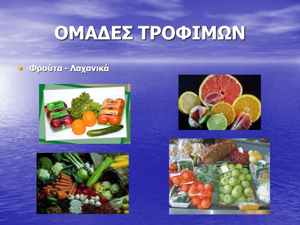 ΟΜΑΔΕΣ ΤΡΟΦΙΜΩΝ Φρούτα - Λαχανικά Φρούτα - Λαχανικά