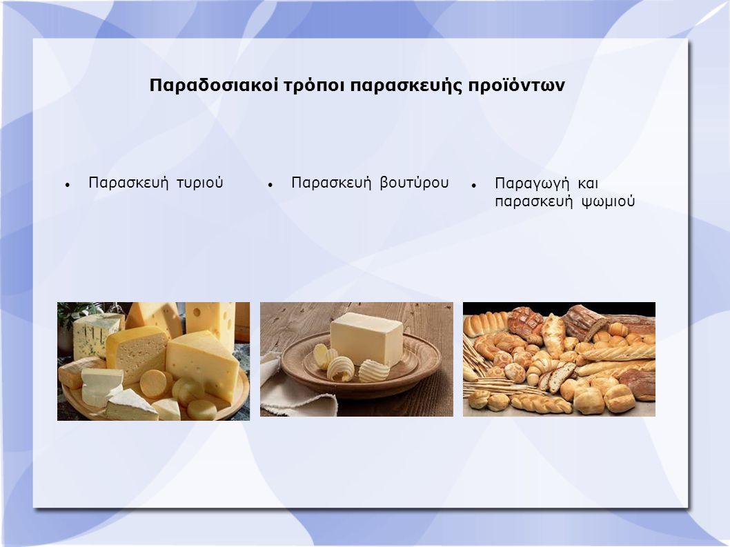 Παραδοσιακοί τρόποι παρασκευής προϊόντων Παρασκευή τυριού Παρασκευή βουτύρου Παραγωγή και παρασκευή ψωμιού