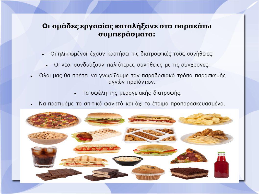 Οι ομάδες εργασίας καταλήξανε στα παρακάτω συμπεράσματα: Οι ηλικιωμένοι έχουν κρατήσει τις διατροφικές τους συνήθειες.