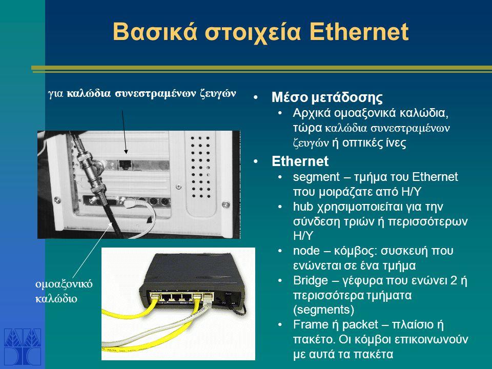 Δίκτυο Ethernet Ένα από τα πρώτα τοπικά δίκτυα LAN Με μεγάλη επιτυχία - τώρα χρησιμοποιείται και σε δίκτυα MAN Το πρώτο πειραματικό Εthernet λειτούργη