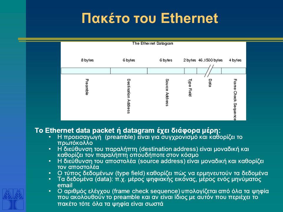 Βασικά στοιχεία Ethernet Μέσο μετάδοσης Αρχικά ομοαξονικά καλώδια, τώρα καλώδια συνεστραμένων ζευγών ή οπτικές ίνες Ethernet segment – τμήμα του Ether