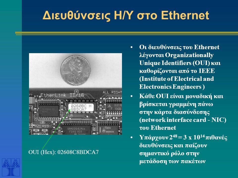 Πακέτο του Ethernet Το Ethernet data packet ή datagram έχει διάφορα μέρη: Η προεισαγωγή (preamble) είναι για συγχρονισμό και καθορίζει το πρωτόκολλο Η