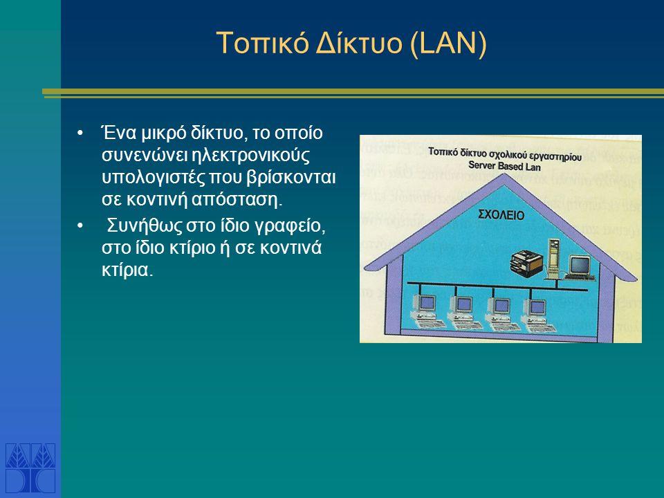 Κατηγορίες δικτύων Κατηγορίες δικτύων Σύμφωνα με την γεωγραφική κατανομή ΤΤοπικό δίκτυο ( Local Area Network – LAN) ΜΜ ητροπολιτικό δίκτυο (Metrop