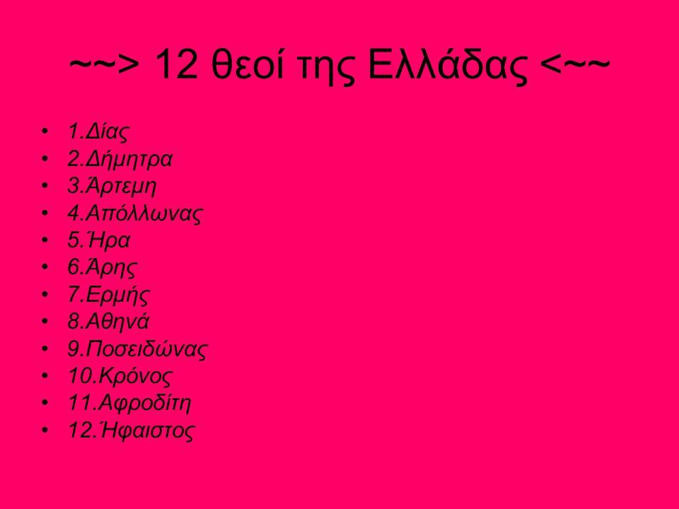~~> 12 θεοί Της Ρώμης <~~ 1.Γιούπιτερ(Δίας) 2.Γιούνο(Ήρα) 3.Μινέρβα(Αθηνά) 4.Βέστα(Εστία) 5.Κέρες(Δήμητρα) 6.Ντιάνα(Άρτεμη) 7.Βένους(Αφροδίτη) 8.Μαρς(Άρης) 9.Μερκούριους(Ερμής) 10.Apollo(Απόλλωνας) 11.Νεπτούνους(Ποσειδώνας) 12.Βολκάνους(Ήφαιστος)