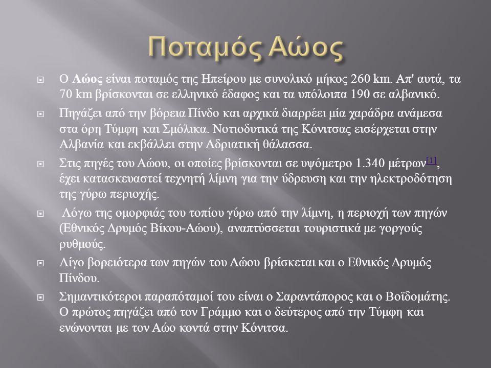  Ο Αώος είναι ποταμός της Ηπείρου με συνολικό μήκος 260 km. Απ ' αυτά, τα 70 km βρίσκονται σε ελληνικό έδαφος και τα υπόλοιπα 190 σε αλβανικό.  Πηγά