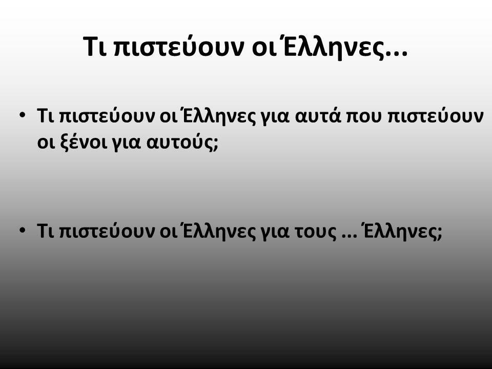 Τι πιστεύουν οι Έλληνες... Τι πιστεύουν οι Έλληνες για αυτά που πιστεύουν οι ξένοι για αυτούς; Τι πιστεύουν οι Έλληνες για τους... Έλληνες;
