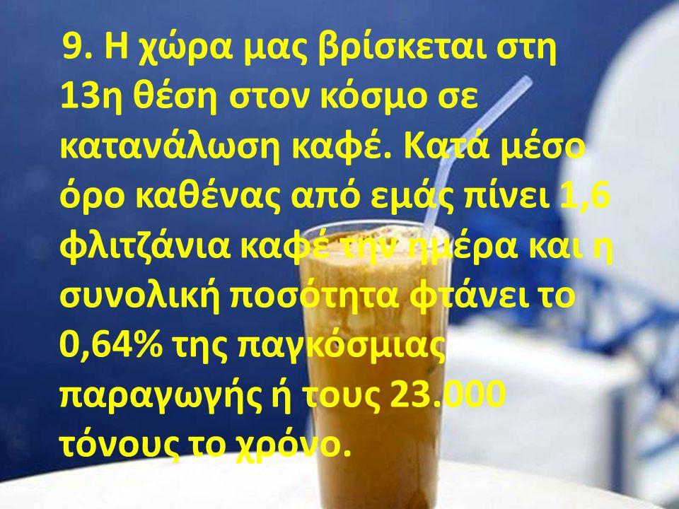 9. Η χώρα μας βρίσκεται στη 13η θέση στον κόσμο σε κατανάλωση καφέ. Κατά μέσο όρο καθένας από εμάς πίνει 1,6 φλιτζάνια καφέ την ημέρα και η συνολική π