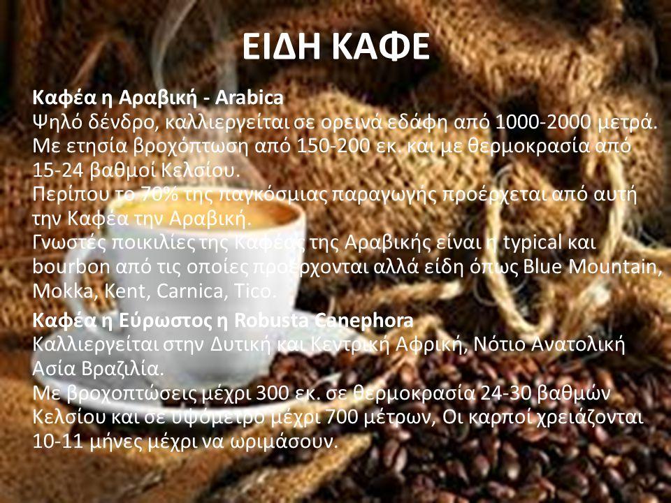 ΕΙΔΗ ΚΑΦΕ Καφέα η Αραβική - Arabica Ψηλό δένδρο, καλλιεργείται σε ορεινά εδάφη από 1000-2000 μετρά. Με ετησία βροχόπτωση από 150-200 εκ. και με θερμοκ