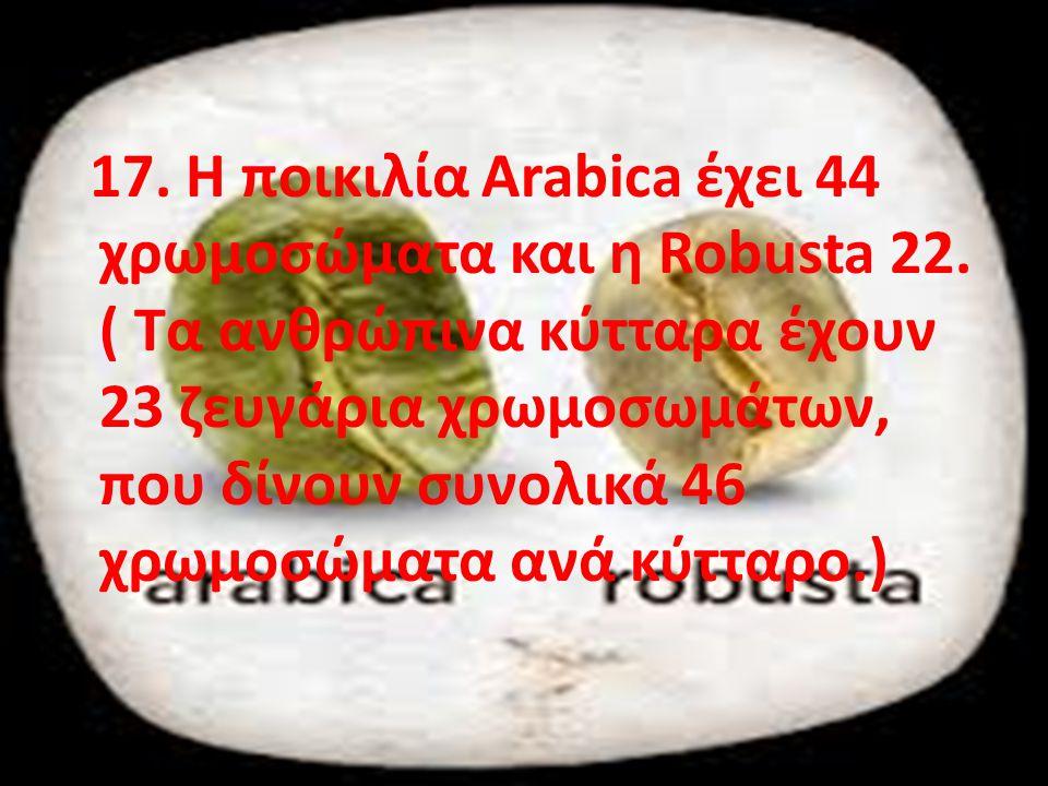 17. Η ποικιλία Arabica έχει 44 χρωμοσώματα και η Robusta 22. ( Tα ανθρώπινα κύτταρα έχουν 23 ζευγάρια χρωμοσωμάτων, που δίνουν συνολικά 46 χρωμοσώματα