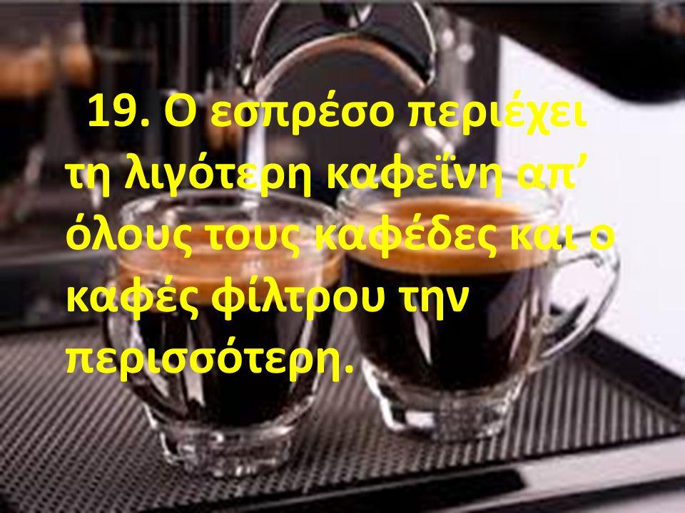 19. Ο εσπρέσο περιέχει τη λιγότερη καφεΐνη απ' όλους τους καφέδες και ο καφές φίλτρου την περισσότερη.