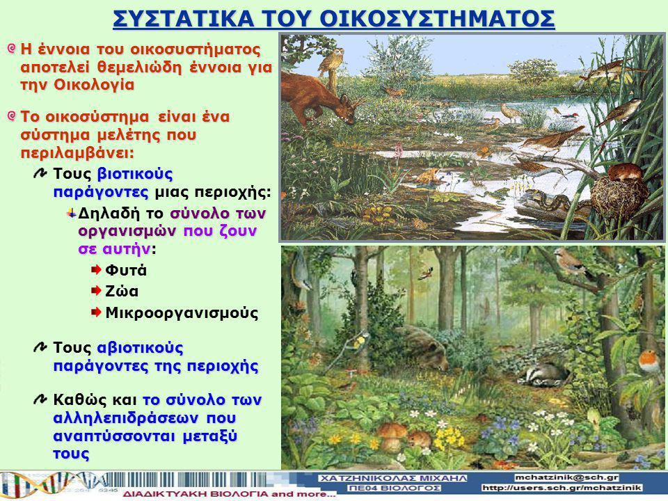 ΣΥΣΤΑΤΙΚΑ ΤΟΥ ΟΙΚΟΣΥΣΤΗΜΑΤΟΣ Η έννοια του οικοσυστήματος αποτελεί θεμελιώδη έννοια για την Οικολογία Το οικοσύστημα είναι ένα σύστημα μελέτης που περιλαμβάνει: βιοτικούς παράγοντες Τους βιοτικούς παράγοντες μιας περιοχής: σύνολο των οργανισμών που ζουν σε αυτήν Δηλαδή τo σύνολο των οργανισμών που ζουν σε αυτήν: Φυτά Ζώα Μικροοργανισμούς αβιοτικούς παράγοντες της περιοχής Τους αβιοτικούς παράγοντες της περιοχής το σύνολο των αλληλεπιδράσεων που αναπτύσσονται μεταξύ τους Καθώς και το σύνολο των αλληλεπιδράσεων που αναπτύσσονται μεταξύ τους