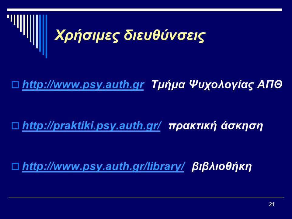 21 Χρήσιμες διευθύνσεις  http://www.psy.auth.gr Τμήμα Ψυχολογίας ΑΠΘ http://www.psy.auth.gr  http://praktiki.psy.auth.gr/ πρακτική άσκηση http://praktiki.psy.auth.gr/  http://www.psy.auth.gr/library/ βιβλιοθήκη http://www.psy.auth.gr/library/