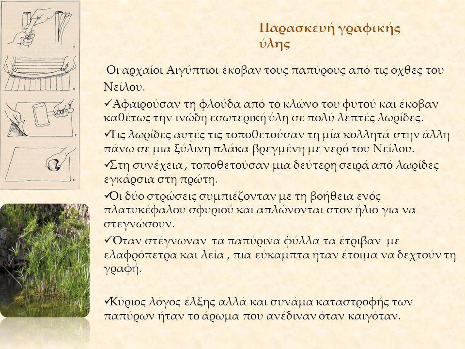 Παρασκευή γραφικής ύλης. Οι αρχαίοι Αιγύπτιοι έκοβαν τους παπύρους από τις όχθες του Νείλου. Αφαιρούσαν τη φλούδα από το κλώνο του φυτού και έκοβαν κα
