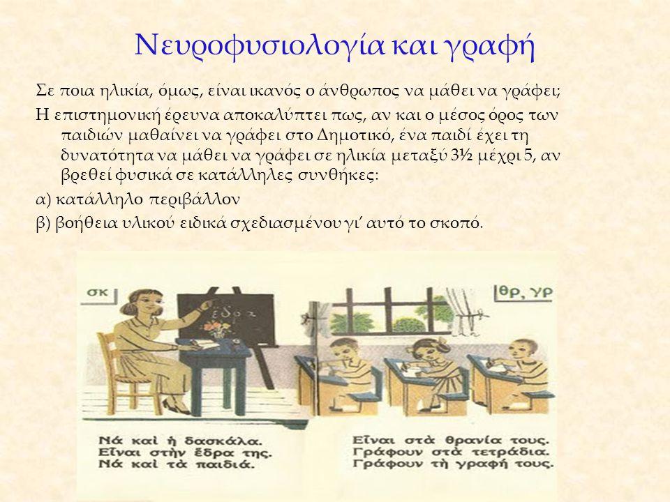 Νευροφυσιολογία και γραφή Σε ποια ηλικία, όμως, είναι ικανός ο άνθρωπος να μάθει να γράφει; Η επιστημονική έρευνα αποκαλύπτει πως, αν και ο μέσος όρος