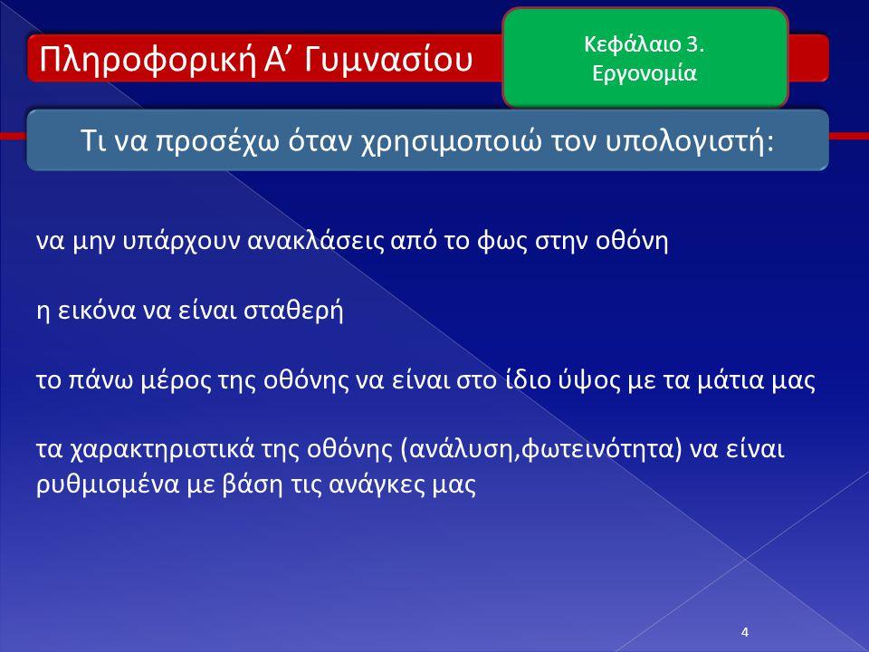 Πληροφορική Α' Γυμνασίου Κεφάλαιο 3.Εργονομία 5 Οθόνη – Ανάλυση οθόνης Ανάλυση οθόνης.